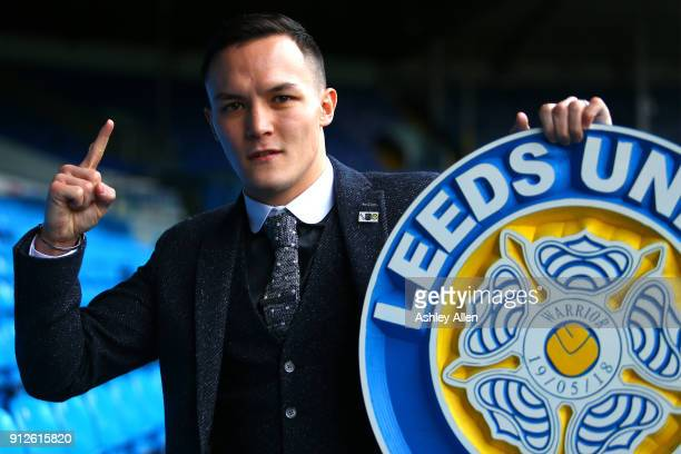 Mandatory Challenger Josh Warrington poses for a photo during the press conference in the Norman Hunter Suite at Elland Road on January 31 2018 in...