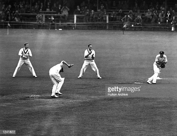 OUT ''HIT WICKET'' BUT THERE WERE SUGGESTIONS THAT TALLON HAD ALREADY CAUGHT THE BALL Mandatory Credit Allsport Hulton/Archive