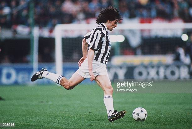 ITALIAN ''A'' LEAGUE''S JUVENTUS KICKS THE BALL UPFIELD DURING THEIR 20 WIN OVER MILAN Mandatory Credit ALLSPORT