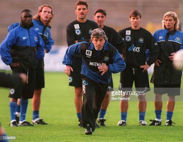LEADS THE ATTACK DURING THEIR TRAINING SESSION AT THE ROYAL ANTWERP STADIUM IN ANTWERP TODAY NEWCASTLE MEET ANTWERP TOMORROW IN A UEFA CUP MATCH...