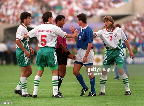 PETAR HOUBTCHEV AND TRIFON IVANOV OF BULGARIA ARGUE DURING THE 1994 WORLD CUP GAME AT SOLDIER FIELD CHICAGO ILLINOIS Mandatory Credit...