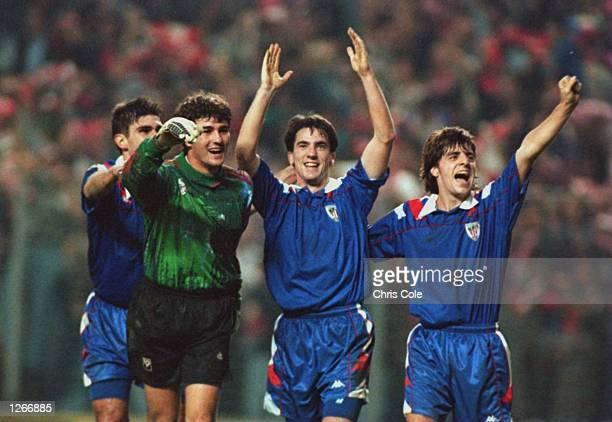 KARANKA VALENCIA LARRAZABAL AND ALKIZA CELEBRATE AFTER THEIR 10 VICTORY OVER NEWCASTLE UNITED IN THE UEFA CUP SECOND ROUND SECOND LEG MATCH IN BILBAO...