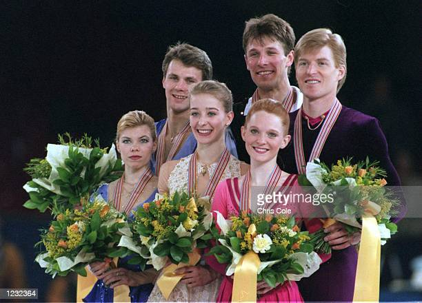 EVGENIA SHISHKOVA AND VADIM NAUMOV OF RUSSIA WIN SILVER AND JENNI MENO AND TODD SAND WIN BRONZE DURING THE WORLD FIGURE SKATING CHAMPIONSHIPS...