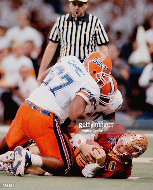 COME UP OFF OF FLORDIA STATE QUARTERBACK DANNY KANELL FOLLOWING A FIRST QUARTER SACK DURING THE USFG SUGAR BOWL AT THE SUPERDOME IN NEW ORLEANS...