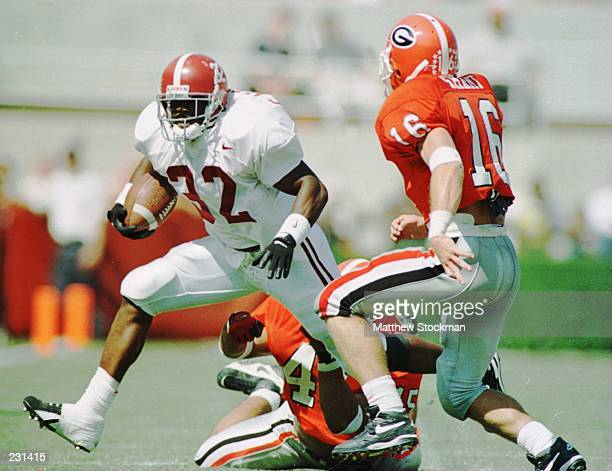ELUDE GEORGIA''S GREG BRIGHT AND KIRBY SMART DURING THE FIRST HALF AT SANFORD STADIUM IN ATHENS GEORGIA Mandatory Credit Matthew Stockman/ALLSPORT