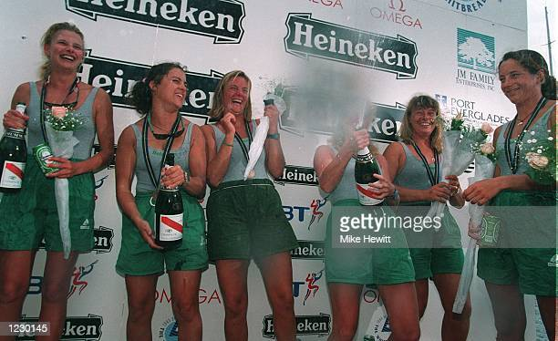JENI MUNDAY OF GREAT BRITAIN LEAH NEWBOLD OF NEW ZEALAND MERRIT CAREY OF THE USA MARIECLAUDE KEIFFER OF FRANCE AND MARLEEN CLEYNDERT OF HOLLAND THE...