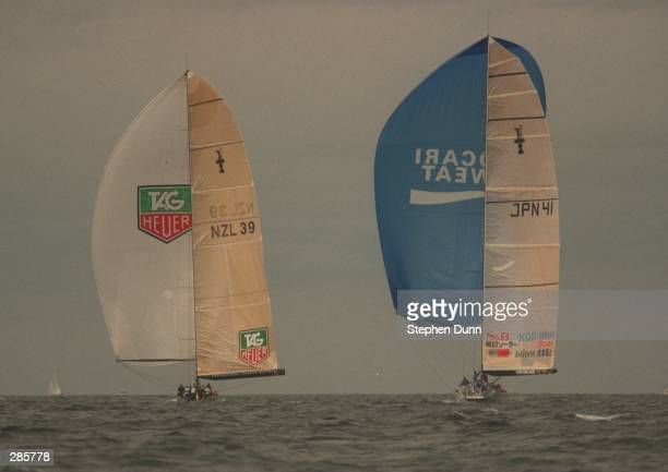 AND NIPPON HEAD DOWNWIND AFTER ROUNDING THE FIRST MARK IN THEIR LOUIS VUITTON CHALLENGER SERIES RACE FOR THE AMERICA''S CUP IN THE PACIFIC OCEAN OFF...
