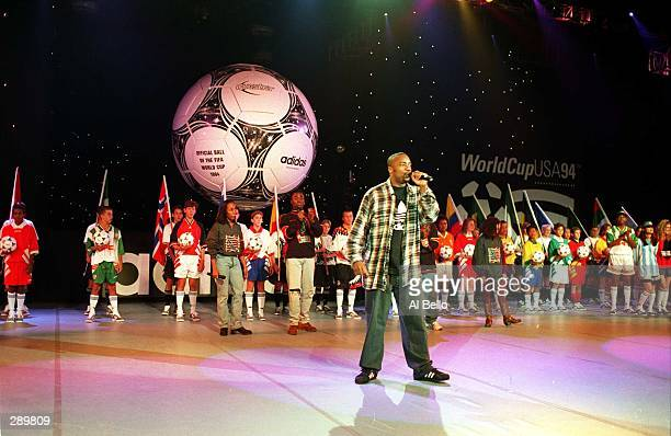 SINGS HEAL THE RAINBOW DURING CEREMONIES INTRODUCING THE NEW ADIDAS QUESTRA WHICH WAS ANNOUNCED AS THE OFFICIAL 1994 WORLD CUP BALL AT A PRESS...