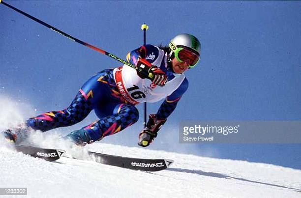 ON HER WAY TO VICTORY IN THE WOMEN SUPER G SLALOM AT THE 1992 WINTER OLYMPICS Mandatory Credit Steve Powell/ALLSPORT