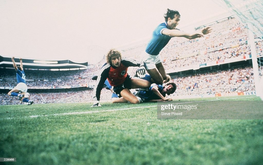 CELEBRATES SCORING ITALY''S FIRST GOAL DURING THEIR 3-1 VICTORY OVER WEST GERMANY IN THE 1982 WORLD CUP FINAL. Mandatory Credit: Steve Powell/ALLSPORT