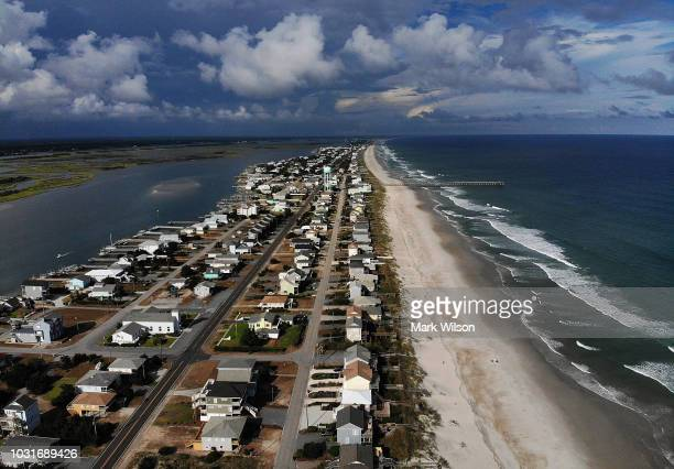 A mandatory evacuation is in effect in preparation of the approaching Hurricane Florence on September 11 2018 in Topsail Beach North Carolina...