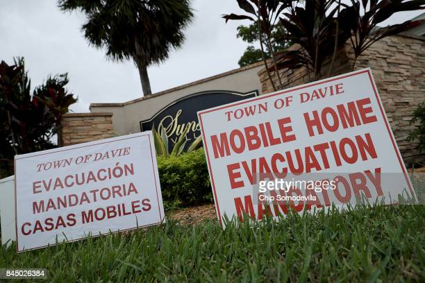 Mandatory evacuation notices are placed at the entrance of the Sunshine Village mobile home community ahead of the arrival of Hurricane Irma...