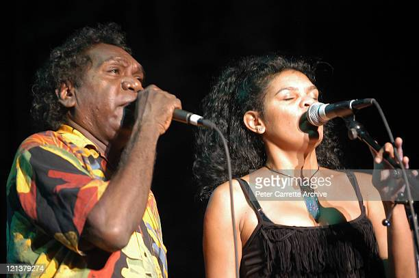 Mandawuy Yunupingu and Jodie CockatooCreed from the band Yothu Yindi performing on stage as the opening act for Carlos Santana during his 'Shaman'...