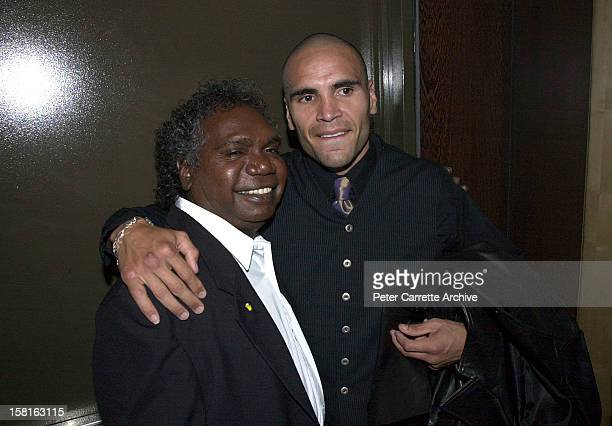 Mandawuy Yunupingu from the band Yothu Yindi with Anthony Mundine backstage at the 6th Annual Deadly Awards at City Live on October 22, 2000 in...
