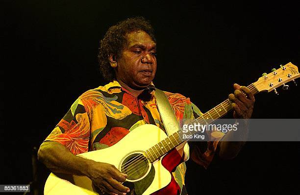 Mandawuy Yunupingu from Yothu Yindi performs live on stage in Centennial Park, Sydney, Australia on 27th March 2003.
