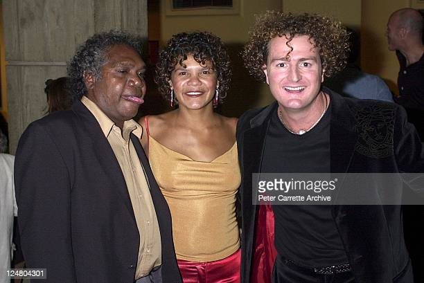 Mandawuy Yunupingu Jodie CockatooCreed and Stephen Johnson arrive for the premiere of the film 'Yolngu Boy' in Paddington on March 16 2001 in Sydney...