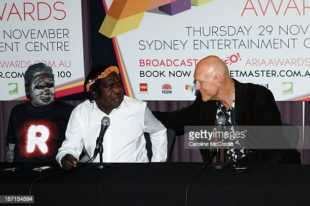 Mandawuy Yunupingu of Yothu Yindi and Australian musician, environmentalist, activist and politician Peter Garrett speak to the media after Yothu...