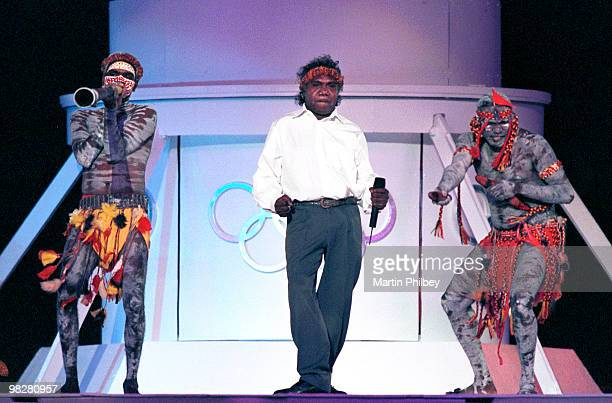 Mandawuy Yunupingu of Yothu Yindi performs on stage during Olympic Games Closing Ceremony in October 2000 in Sydney, Australia.