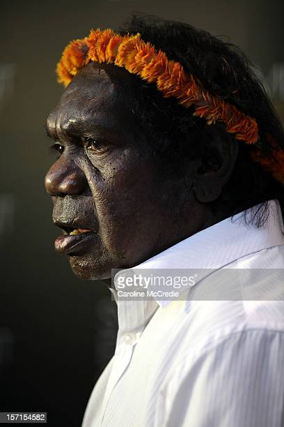 Mandawuy Yunupingu of Yothu Yindi speaks to the media after being inducted into the ARIA Hall of Fame at the 26th Annual ARIA Awards 2012 at the...