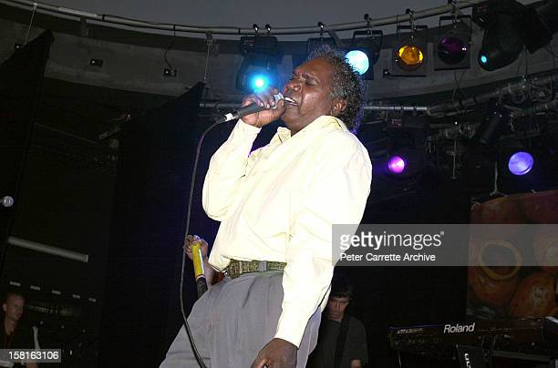 Mandawuy Yunupingu performs live on stage with the band Yothu Yindi at the 6th Annual Deadly Awards at City Live on October 22, 2000 in Sydney,...