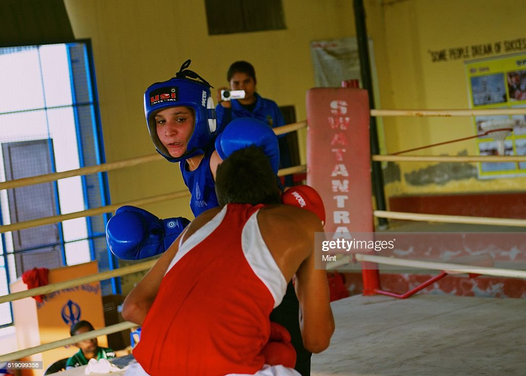 Mandeep Kaur Sandhu Junior World Champion 2015 from Chakar village practicing boxing at SherePunjab Academy which has been producing some of India`s..