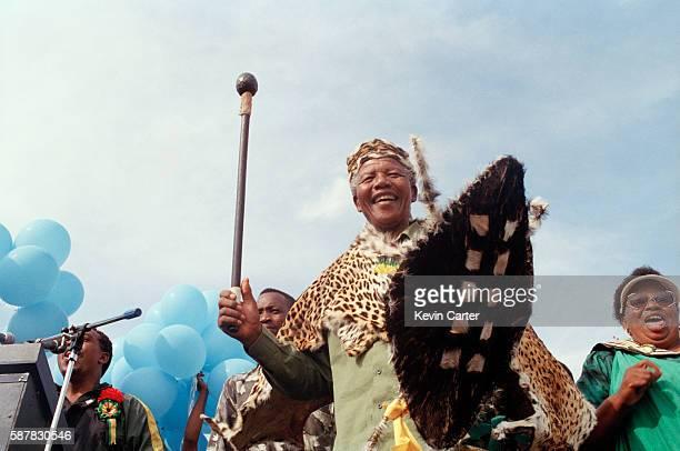 Mandela wearing traditional Zulu gear