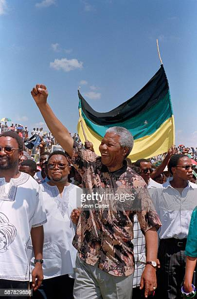 Mandela's arrival at the meeting in Rustenburg