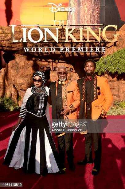 """Mandi Kani, John Kani, and Atandwa Kani attend the World Premiere of Disney's """"THE LION KING"""" at the Dolby Theatre on July 09, 2019 in Hollywood,..."""