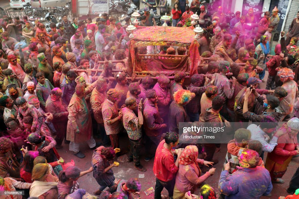 Mandi main deity Lord Raj Madhav being taken on a procession by devoteesin the town on March 1 2018 in Mandi India Started by the royal house of...