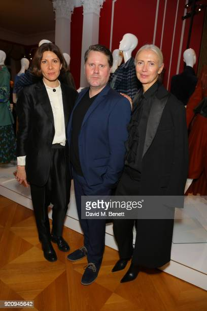 Mandie Bienek Scott Lipinski and Editor in Chief Vogue Germany Christiane Arp attend 'An Evening of German Fashion' at the German Embassy on February...