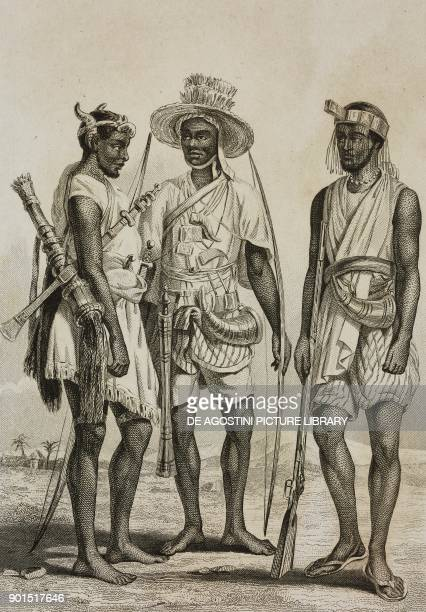 1 Mandingo 2 Bambara 3 Wolof people from West Africa engraving by Lemaitre from Senegambie et Guinee by Tardieu Nubie by Cherubini Abyssinie by...