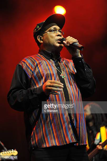 Mandingo comperes on stage during Respect Jamaica 50th celebrations at Indigo2 at O2 Arena on August 5 2012 in London United Kingdom