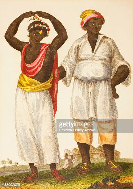 Mandinka Couple Of West Africa Also Known As Mandinko Mandingo Or Malinke From An Original Engraving Published 1802