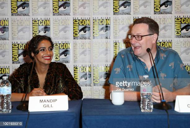 Mandip Gill and Chris Chibnall attend BBC America's 'Doctor Who' at ComicCon International 2018 at San Diego Convention Center on July 19 2018 in San...