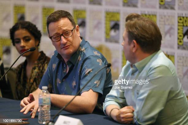 Mandip Gill Chris Chibnall and Matt Strevens attend BBC America's 'Doctor Who' at ComicCon International 2018 at San Diego Convention Center on July...