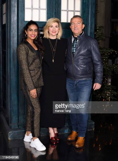 """Mandip Gill, Jodie Whittaker, and Bradley Walsh attend a photocall for the new series launch of """"Doctor Who"""" at BFI Southbank on December 17, 2019 in..."""