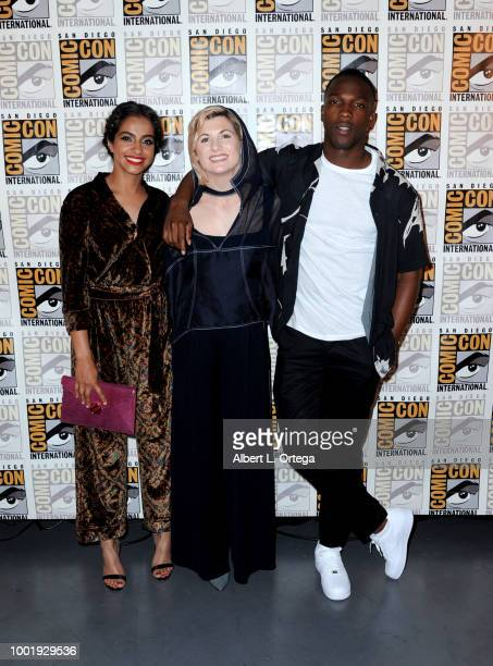 Mandip Gill, Jodie Whittaker and Tosin Cole pose during the Doctor Who: BBC America's Official panel during Comic-Con International 2018 at San Diego...