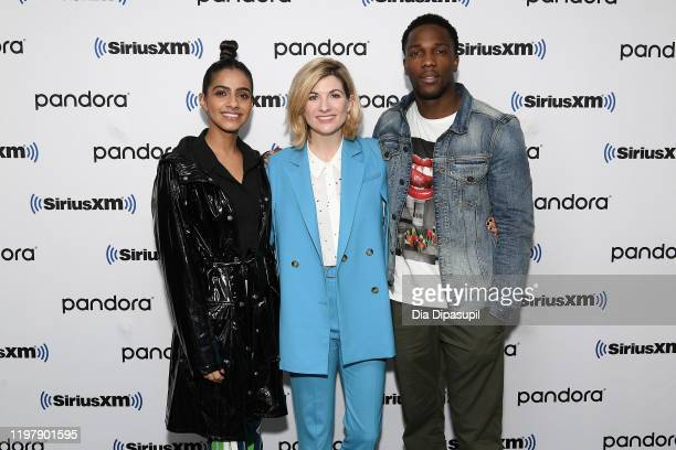 Mandip Gill, Jodie Whittaker, and Tosin Cole visit SiriusXM Studios on January 06, 2020 in New York City.