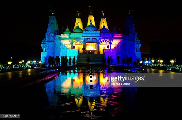baps mandir temple in colors - rolour garcia stock pictures, royalty-free photos & images