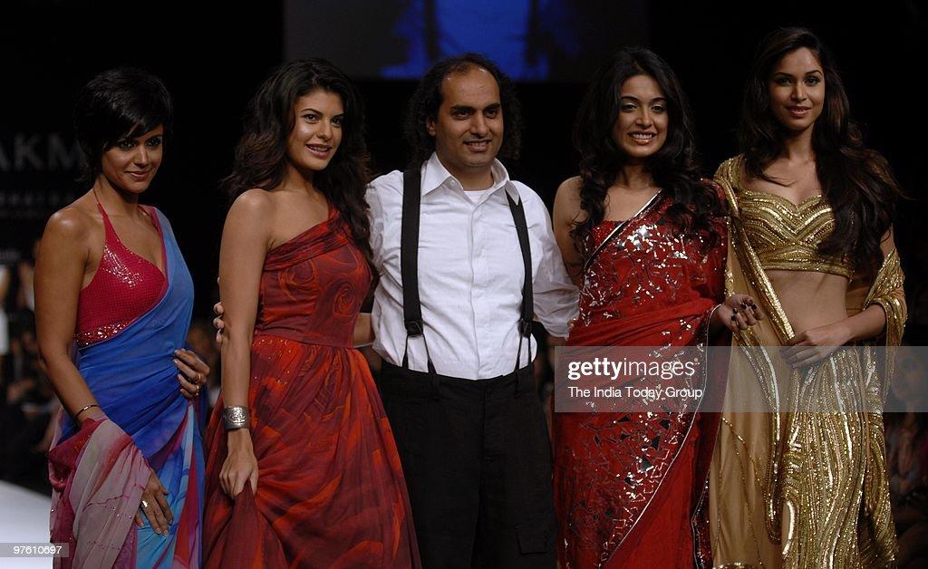 Mandira Bedi Jacqueline Fernandez Satya Paul designer Puneet Nanda Sarah Jane Dias and Amruta Patki on Day 4 of the Lakme Fashion Week on March 8 2010