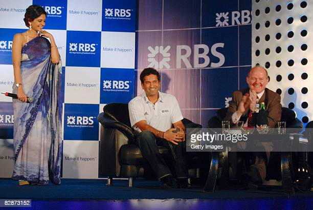 MC Mandiri Bedi Sachin Tendulkar RBS Global Ambassador and John McCormick Chief Executive Asia Pacific GBM during a press conference unveiling Sachin...