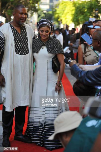 Mandla Mandela and his wife Rabia arrives at the State of the Nation Address on February 13 2020 in Cape Town South Africa The State Of The Nation of...