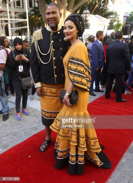 Mandla Mandela and his wife Rabia on the red carpet at the State of the Nation Address 2018 in Parliament on February 16 2018 in Cape Town South...