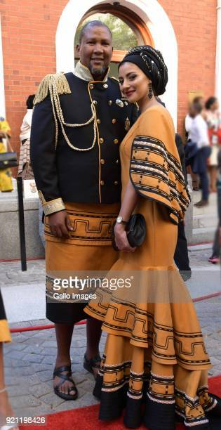 Mandla Mandela and his wife Rabia on the red carpet during the State of the Nation Address 2018 in Parliament on February 16 2018 in Cape Town South...
