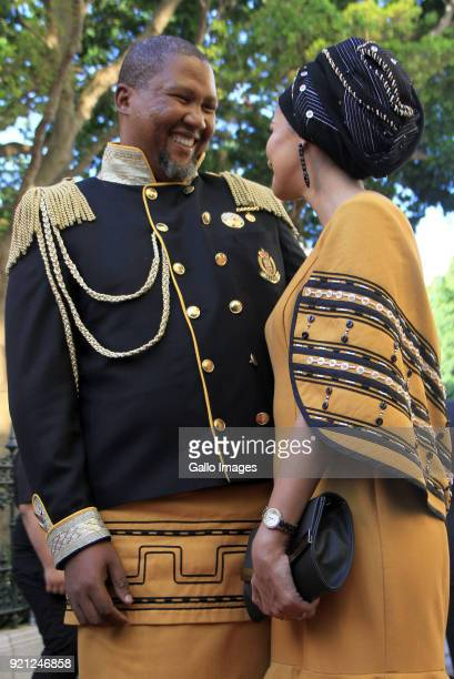 ANC MP Mandla Mandela and Wife Rabia on the red carpet at the State of the Nation Address 2018 in Parliament on February 16 2018 in Cape Town South...