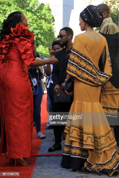 ANC MP Mandla Mandela and Wife Rabia with David Tlale on the red carpet at the State of the Nation Address 2018 in Parliament on February 16 2018 in...