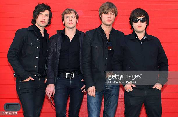 Mando Diao pose at a portrait shoot in the studio Babelsberg on May 19 2009 in Potsdam Germany