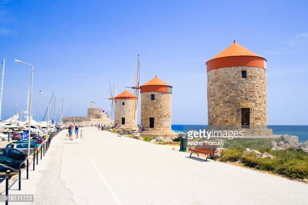 Mandraki harbour with windmills, Rhodes, Greece