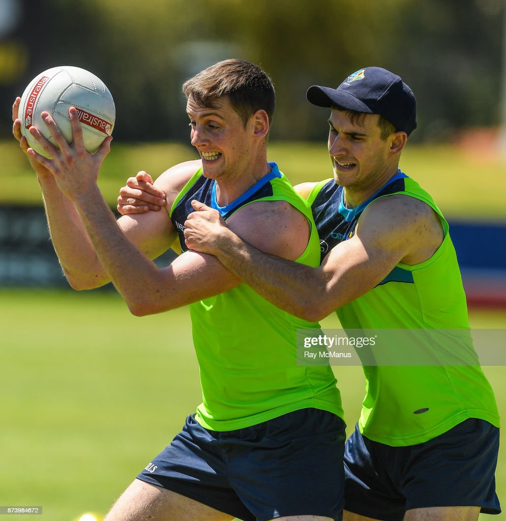 Mandurah , Australia - 14 November 2017; Conor Sweeney is tackled by Niall Murphy during Ireland International Rules Squad training at Bendigo Bank Stadium, Mandurah, Australia.