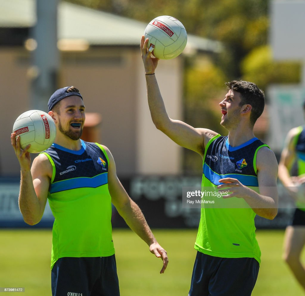 Mandurah , Australia - 14 November 2017; Niall Sludden and Brendan Harrison during Ireland International Rules Squad training at Bendigo Bank Stadium, Mandurah, Australia.